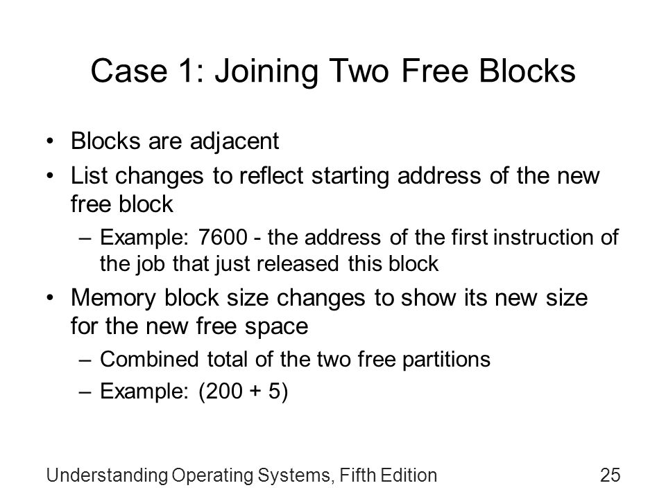 Case 1: Joining Two Free Blocks