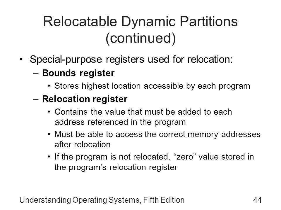 Relocatable Dynamic Partitions (continued)