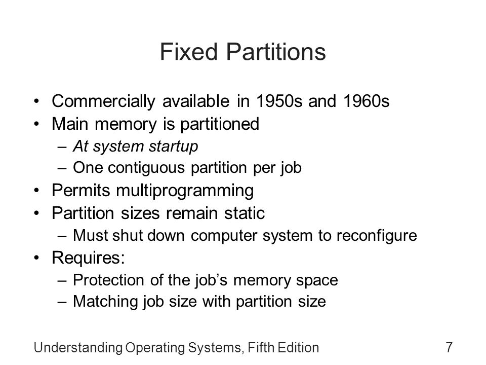 Fixed Partitions Commercially available in 1950s and 1960s