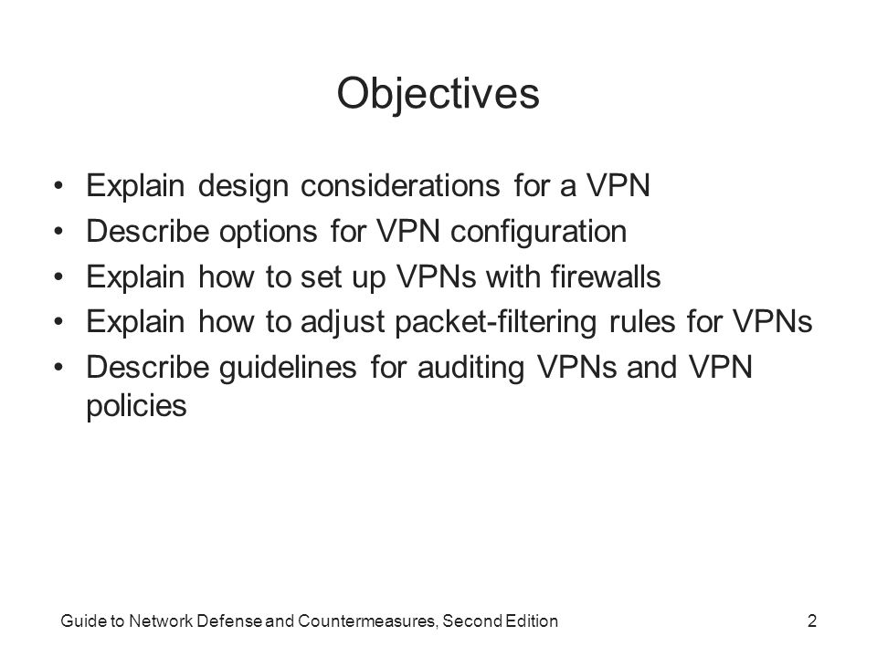 Objectives Explain design considerations for a VPN