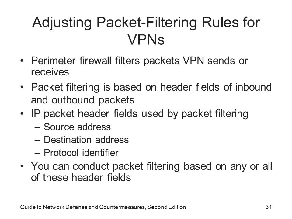 Adjusting Packet-Filtering Rules for VPNs