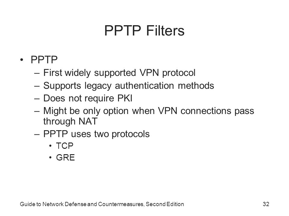PPTP Filters PPTP First widely supported VPN protocol