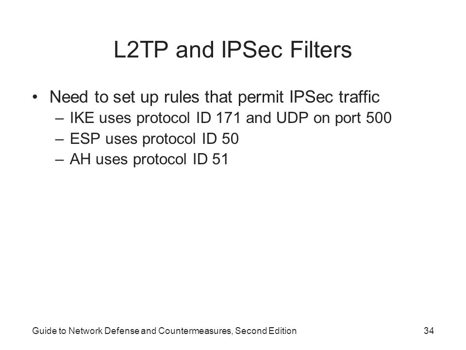 L2TP and IPSec Filters Need to set up rules that permit IPSec traffic