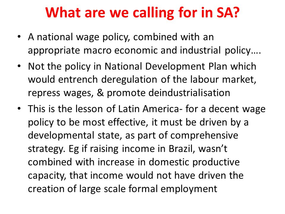 What are we calling for in SA
