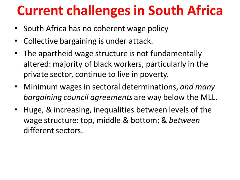 Current challenges in South Africa