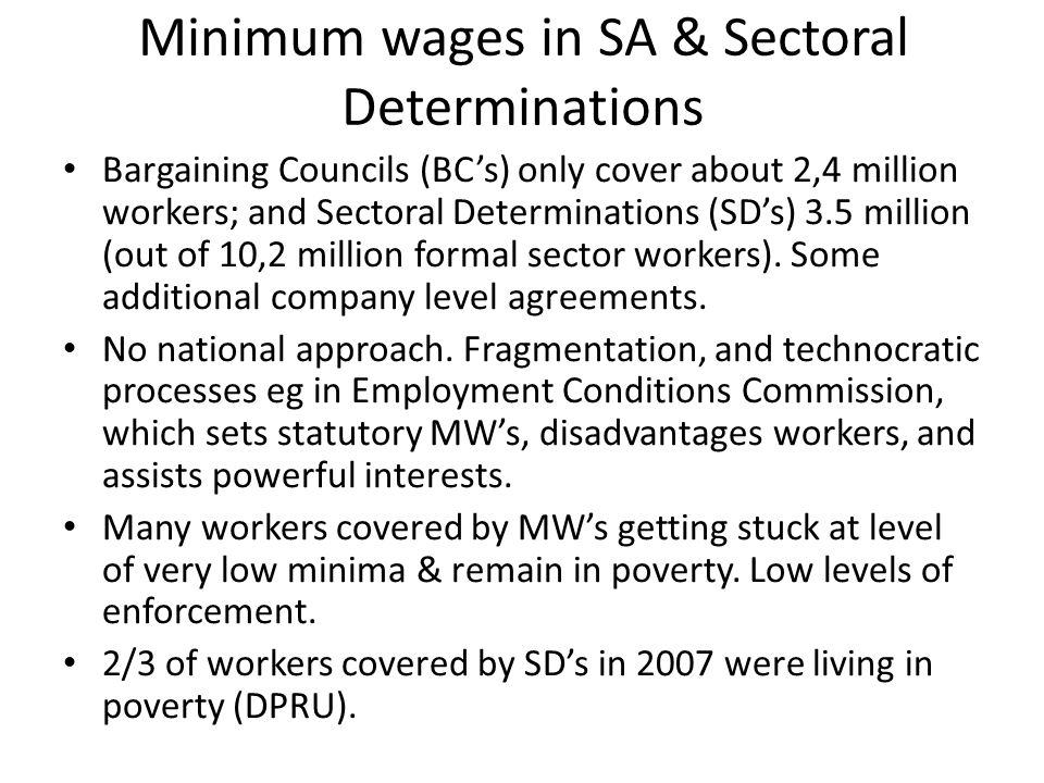 Minimum wages in SA & Sectoral Determinations