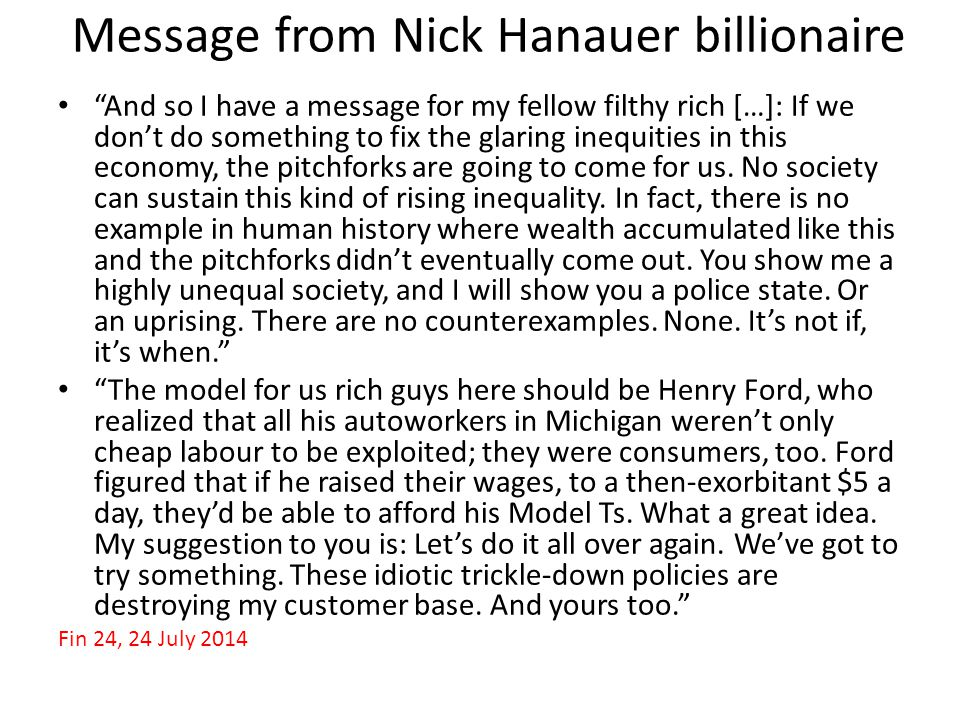 Message from Nick Hanauer billionaire