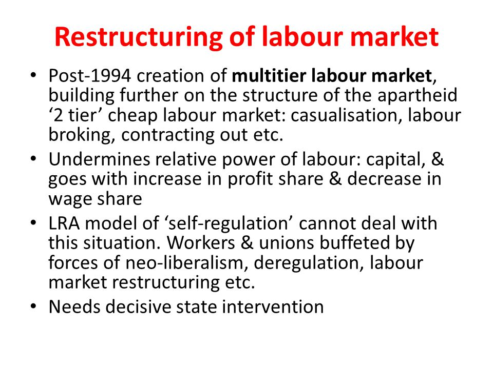 Restructuring of labour market