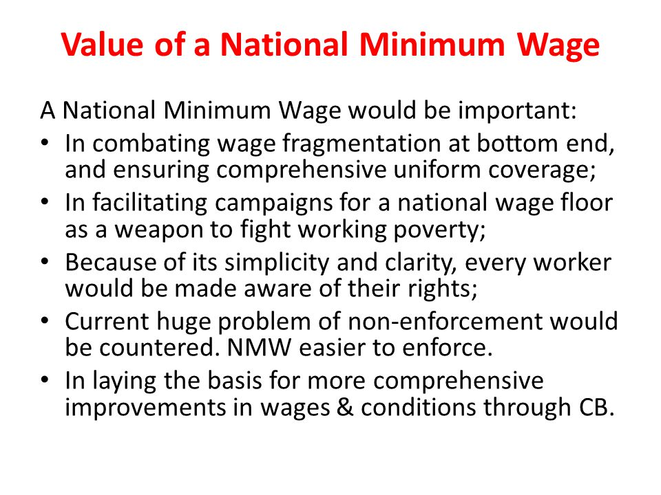 Value of a National Minimum Wage