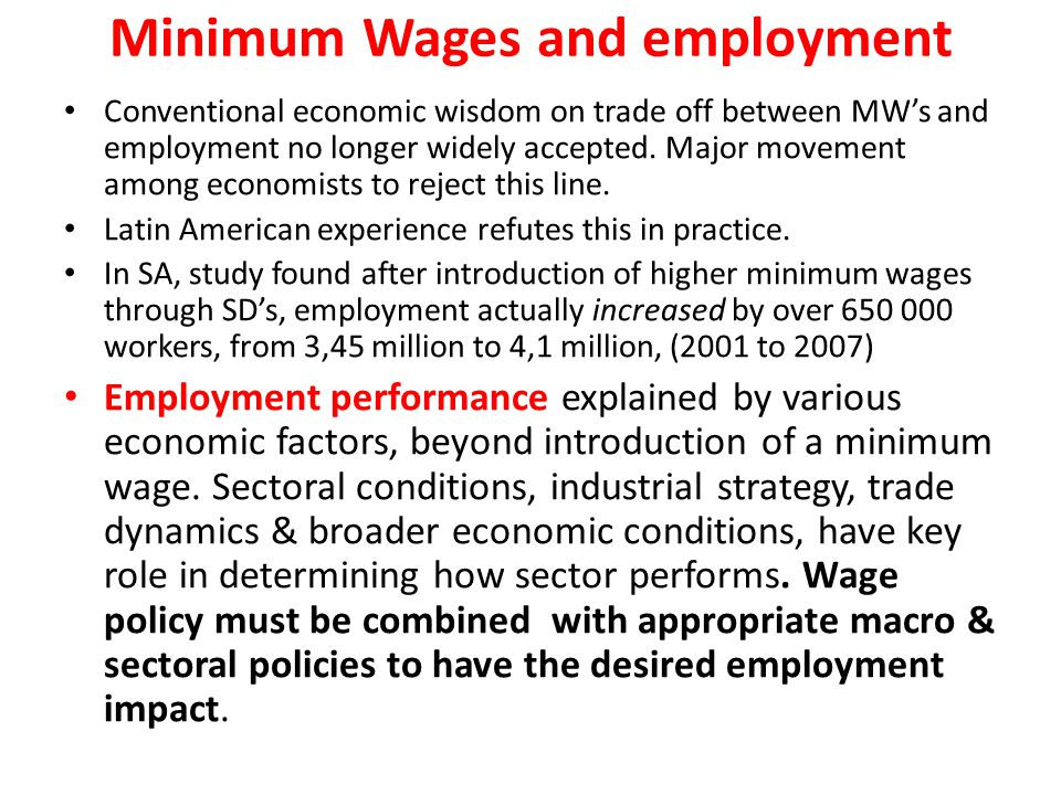 Minimum Wages and employment