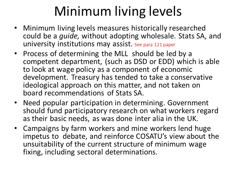 Minimum living levels