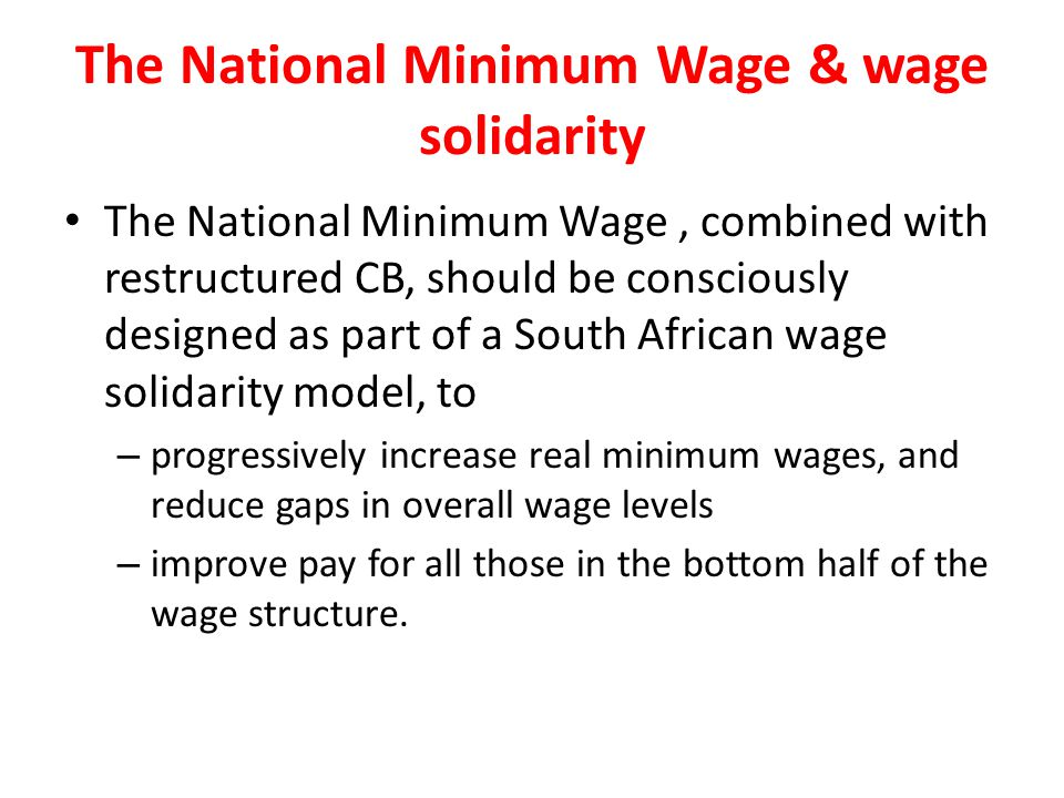 The National Minimum Wage & wage solidarity
