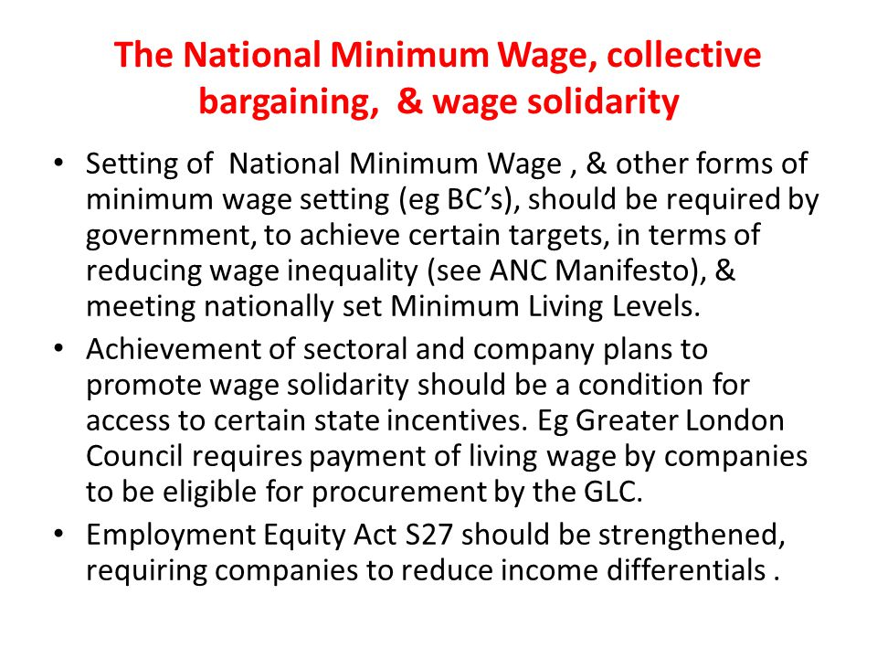 The National Minimum Wage, collective bargaining, & wage solidarity