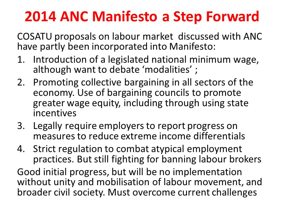 2014 ANC Manifesto a Step Forward