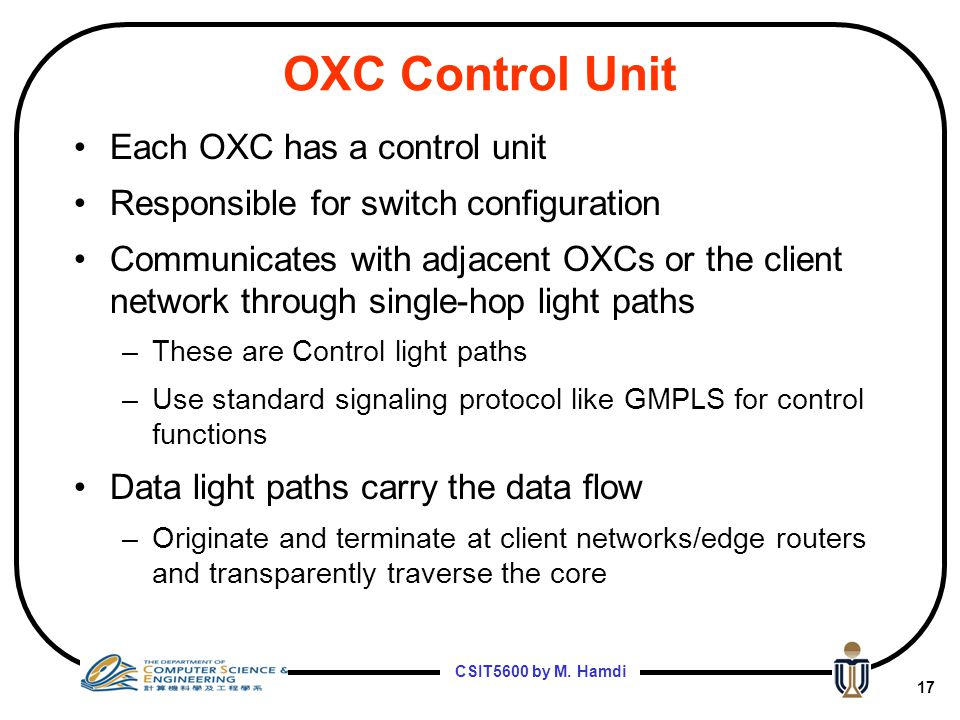 OXC Control Unit Each OXC has a control unit