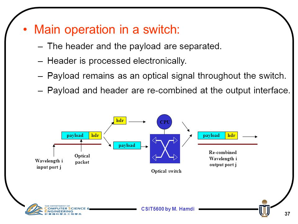 Main operation in a switch: