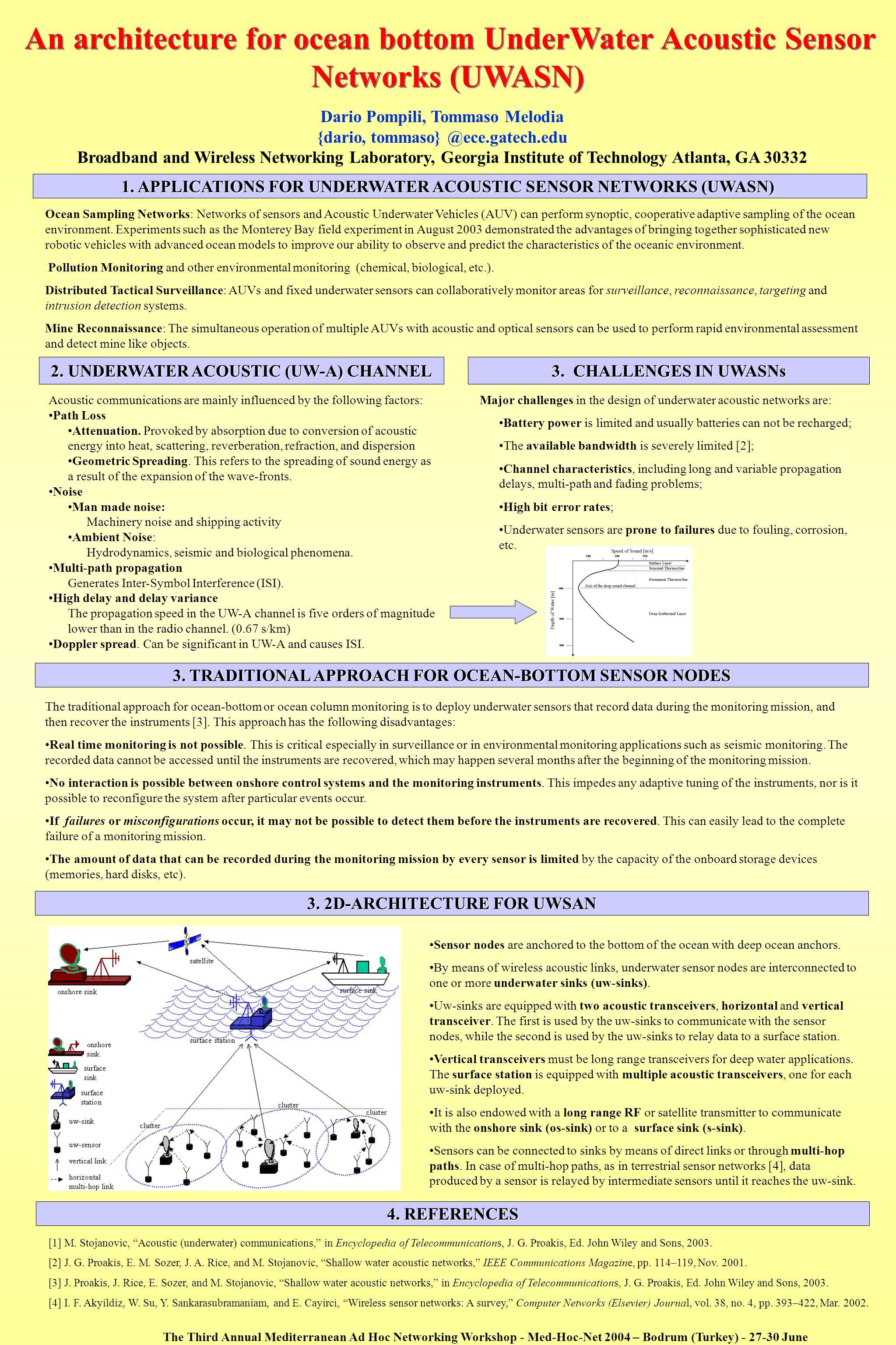 An architecture for ocean bottom UnderWater Acoustic Sensor Networks (UWASN)