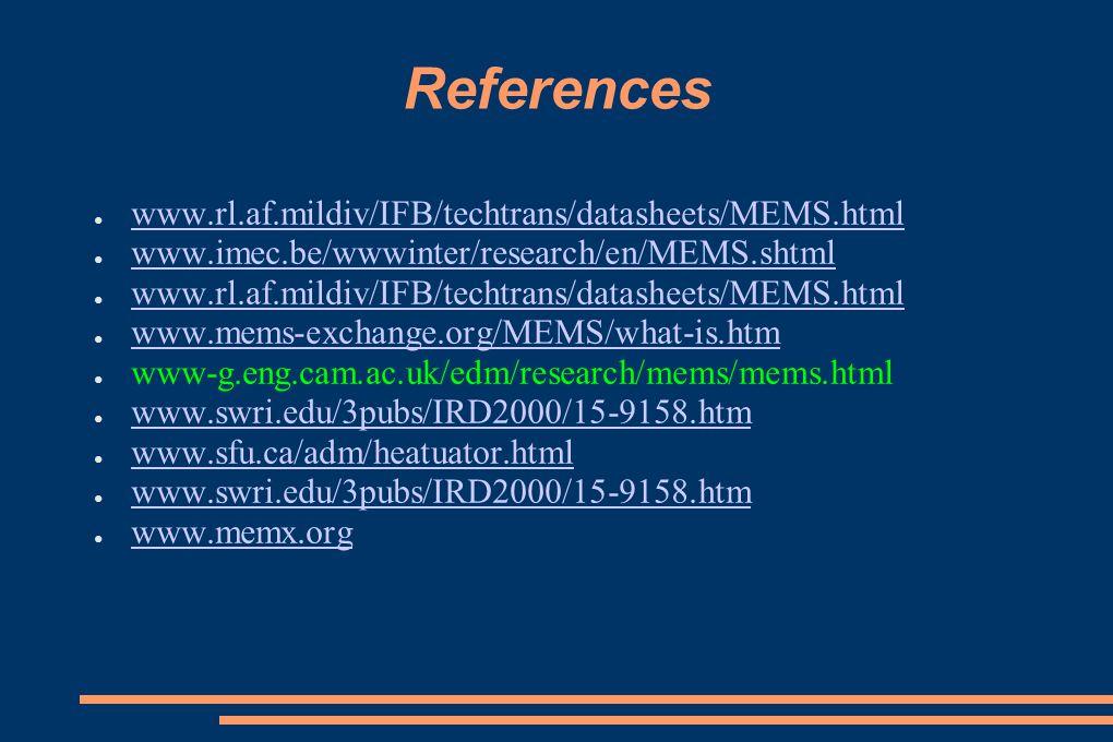 References www.rl.af.mildiv/IFB/techtrans/datasheets/MEMS.html