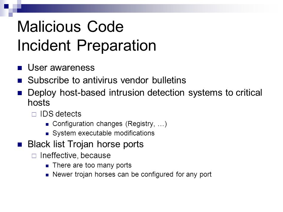 Malicious Code Incident Preparation