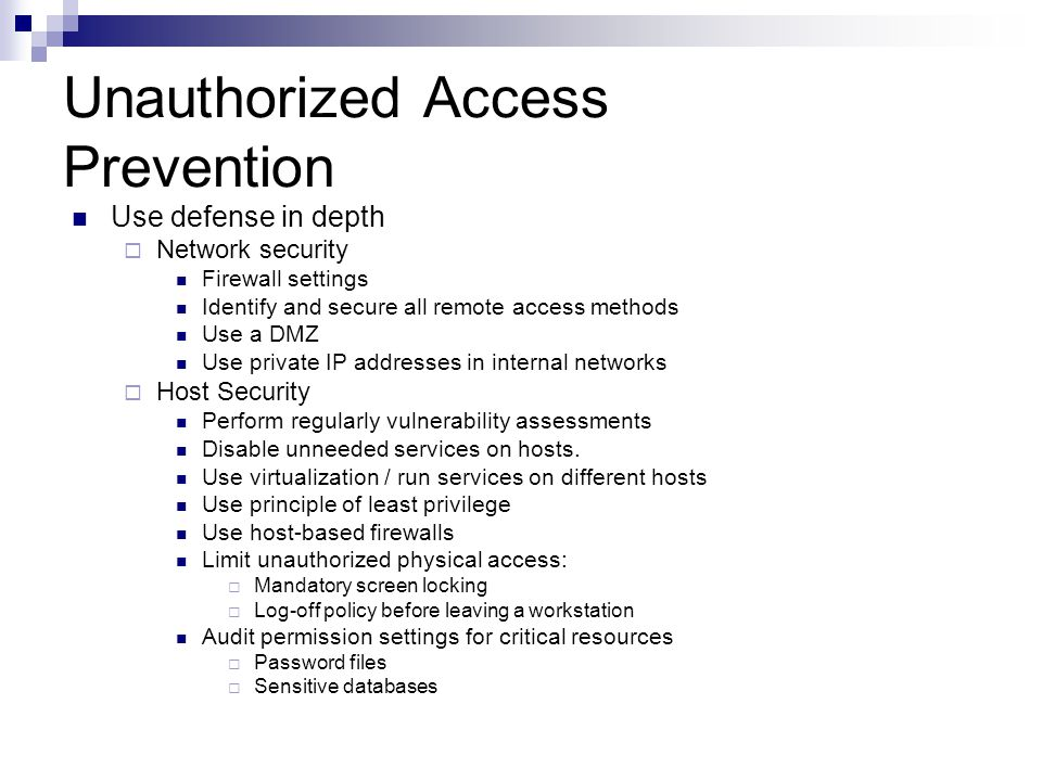 Unauthorized Access Prevention