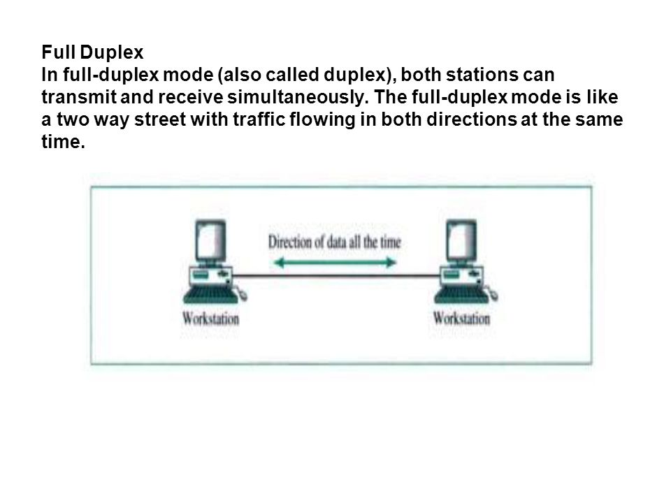 Full Duplex In full-duplex mode (also called duplex), both stations can transmit and receive simultaneously.