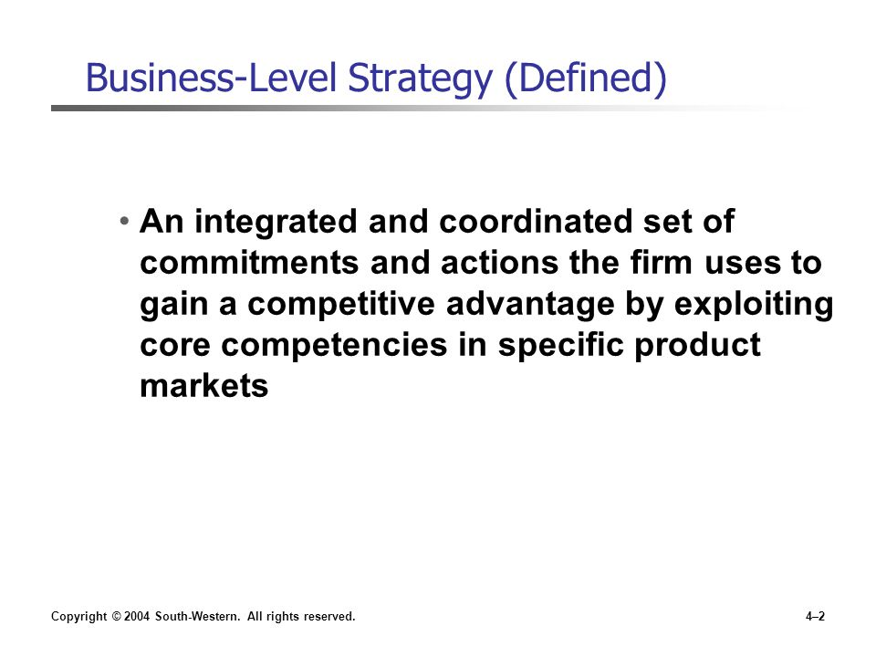 report on business level strategy To build a sustainable competitive advantage managers need a good grasp of  business-level strategy a firm's business-level strategy is the basic theme that a .