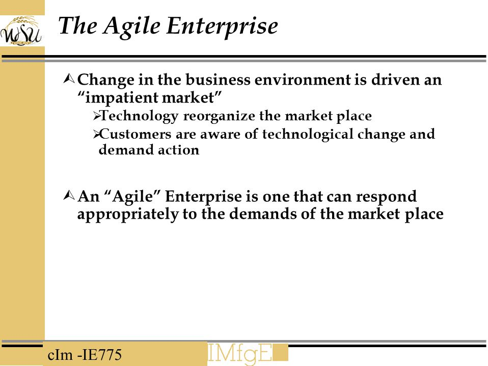 The Agile Enterprise Change in the business environment is driven an impatient market Technology reorganize the market place.
