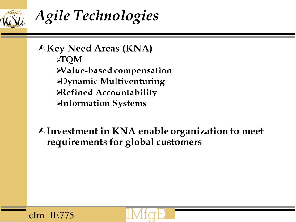 Agile Technologies Key Need Areas (KNA)