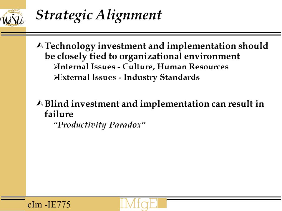 Strategic Alignment Technology investment and implementation should be closely tied to organizational environment.