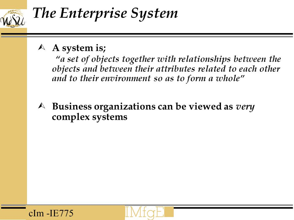 The Enterprise System A system is;
