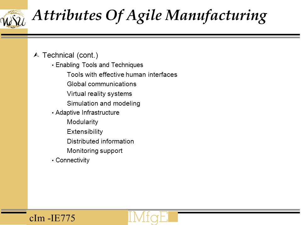 Attributes Of Agile Manufacturing