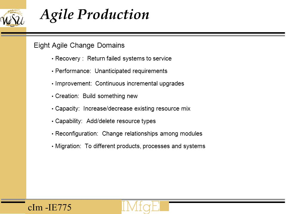Agile Production Eight Agile Change Domains