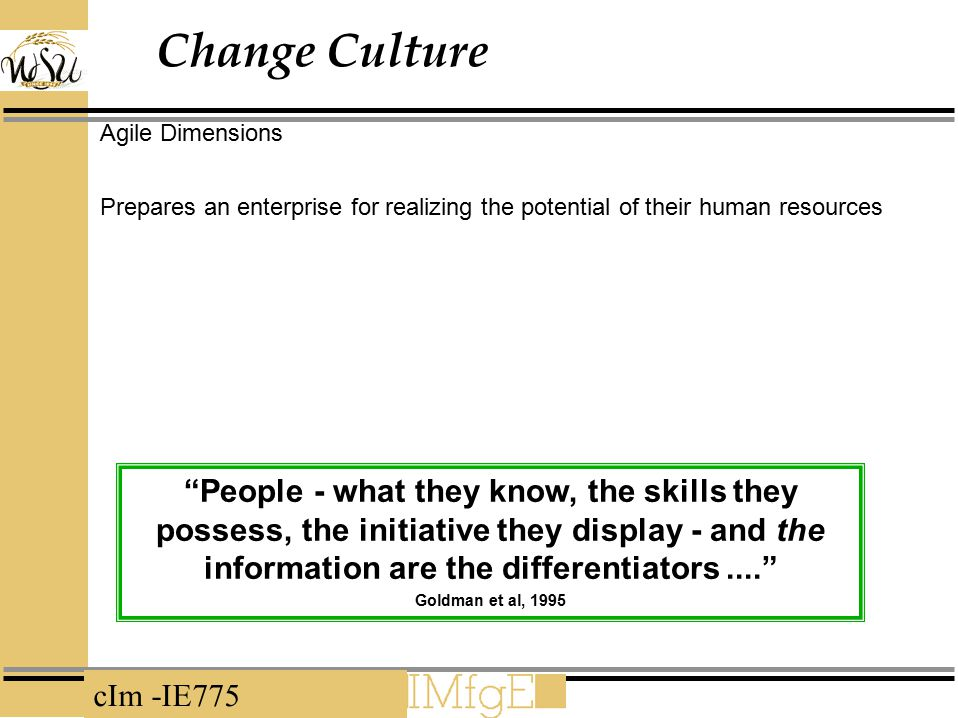 Change Culture Agile Dimensions. Prepares an enterprise for realizing the potential of their human resources.