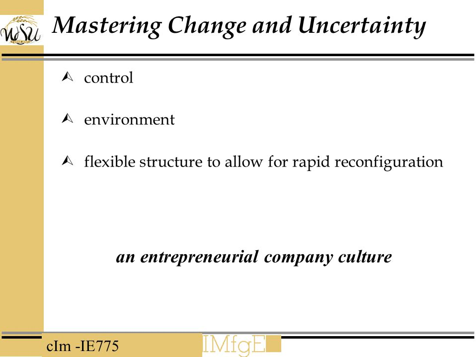 Mastering Change and Uncertainty