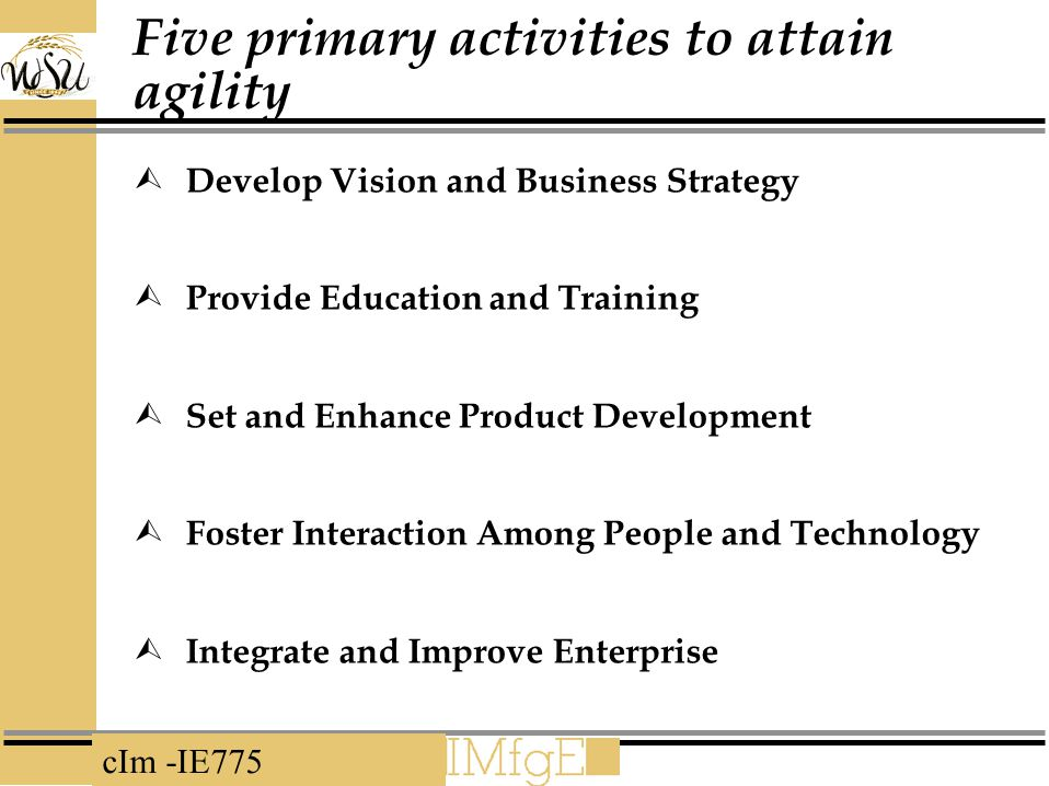 Five primary activities to attain agility
