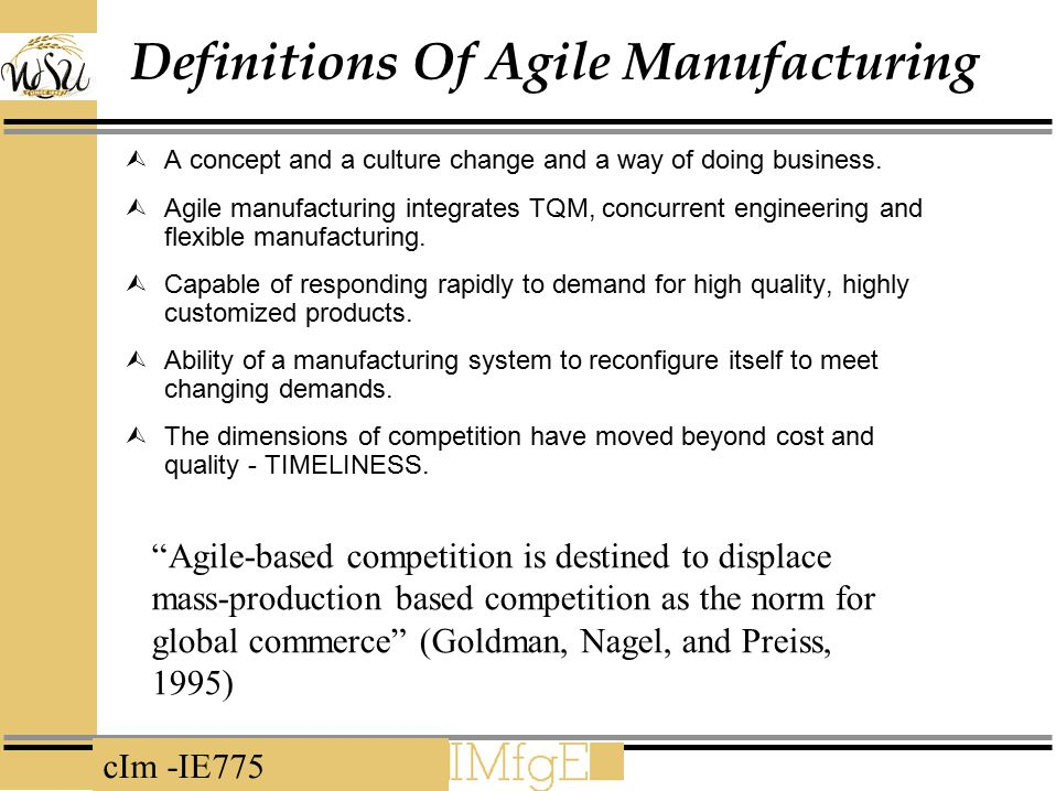 Definitions Of Agile Manufacturing