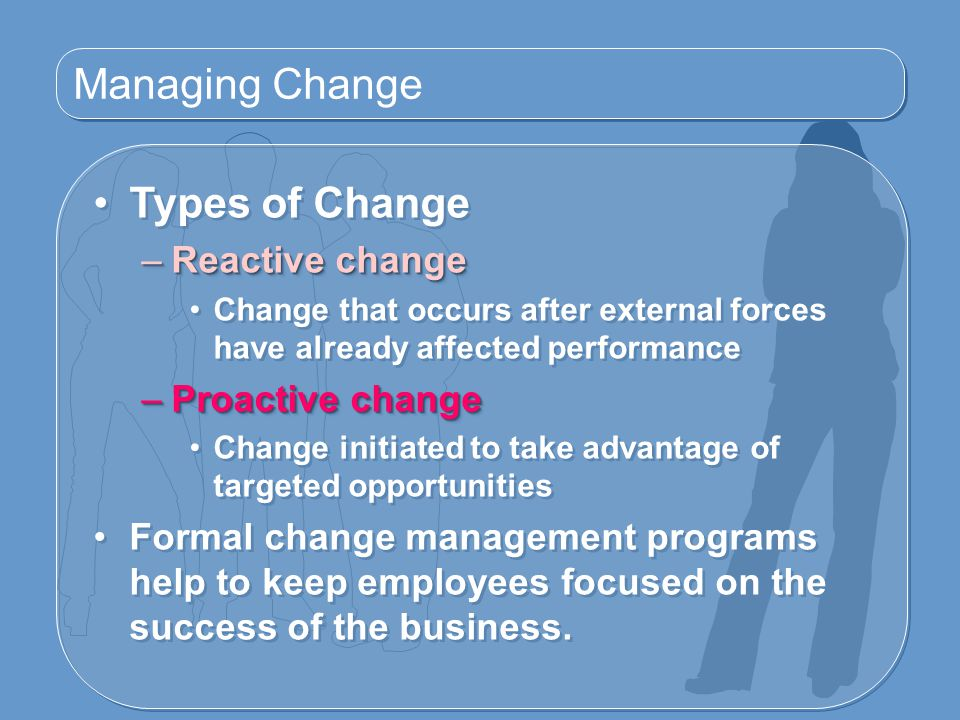 Managing Change Types of Change Reactive change Proactive change
