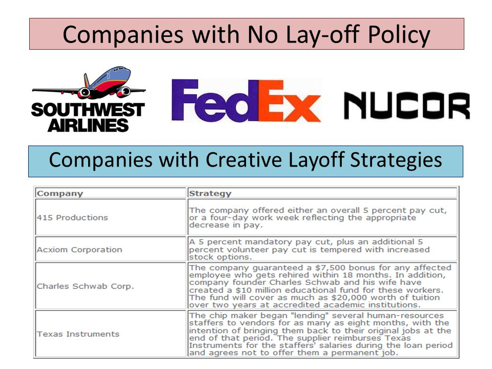 Companies with No Lay-off Policy