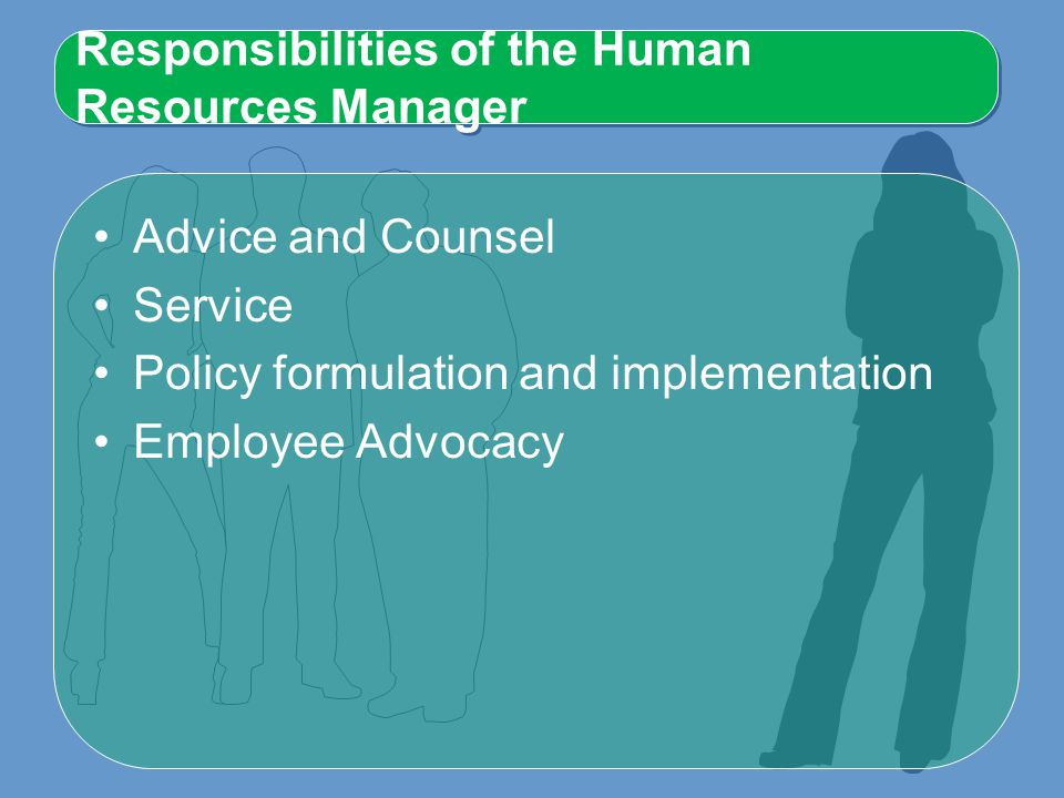 Responsibilities of the Human Resources Manager