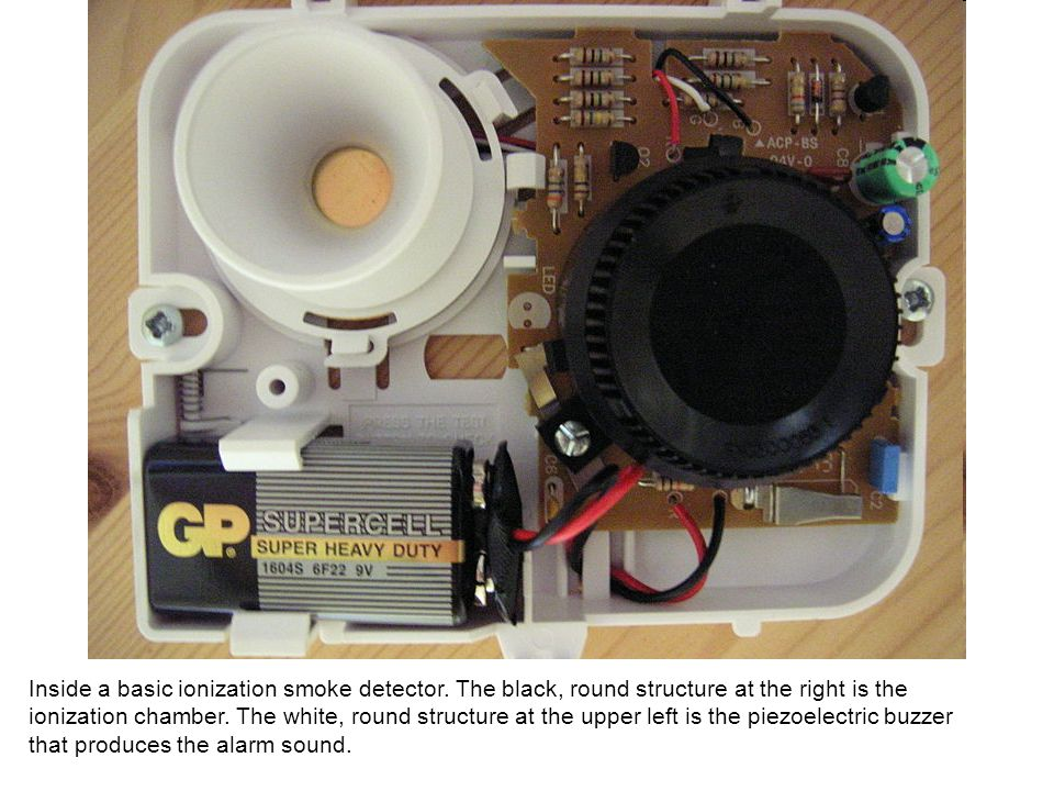 Inside a basic ionization smoke detector