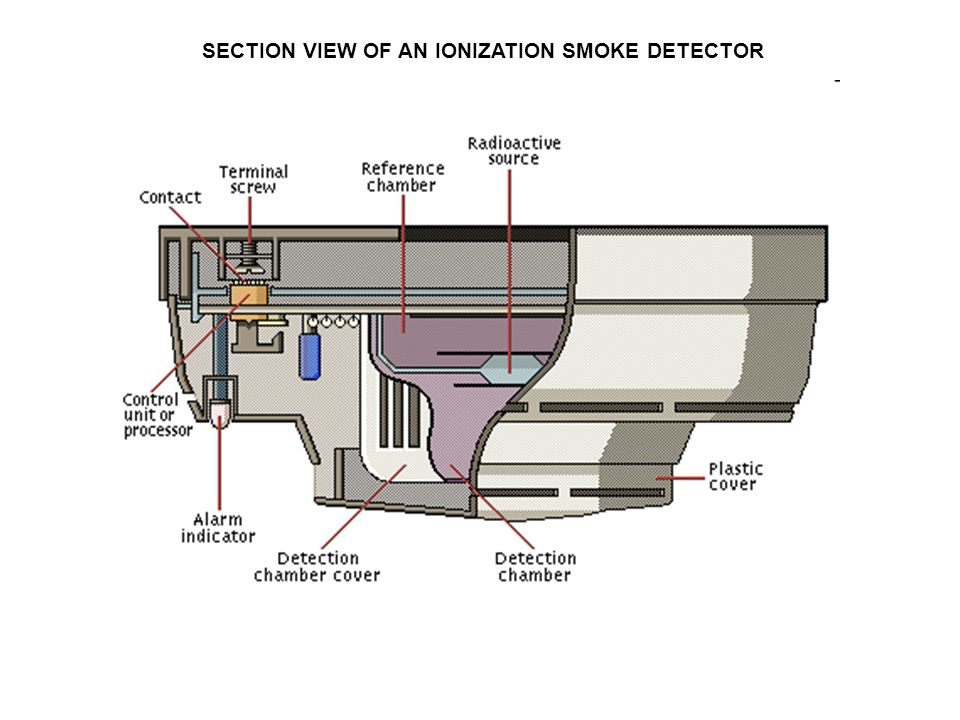 SECTION VIEW OF AN IONIZATION SMOKE DETECTOR