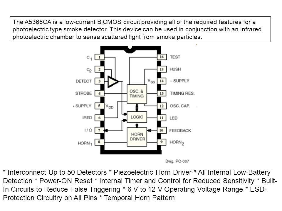 The A5366CA is a low-current BiCMOS circuit providing all of the required features for a photoelectric type smoke detector. This device can be used in conjunction with an infrared photoelectric chamber to sense scattered light from smoke particles.