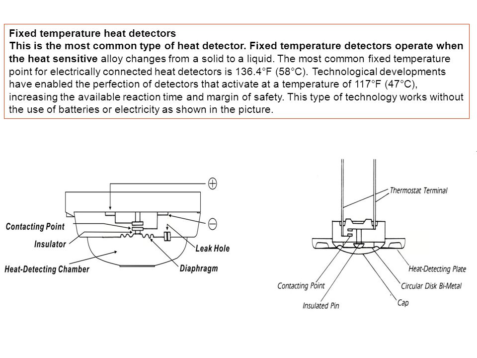 Fixed temperature heat detectors