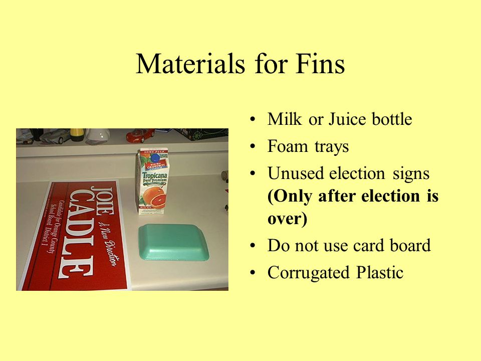 Materials for Fins Milk or Juice bottle Foam trays