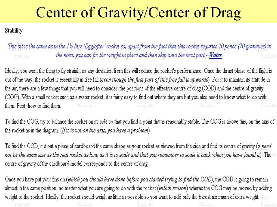 Center of Gravity/Center of Drag