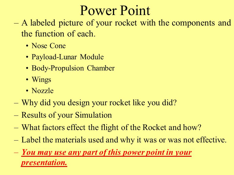 Power Point A labeled picture of your rocket with the components and the function of each. Nose Cone.