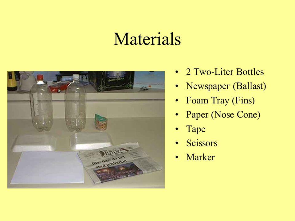 Materials 2 Two-Liter Bottles Newspaper (Ballast) Foam Tray (Fins)