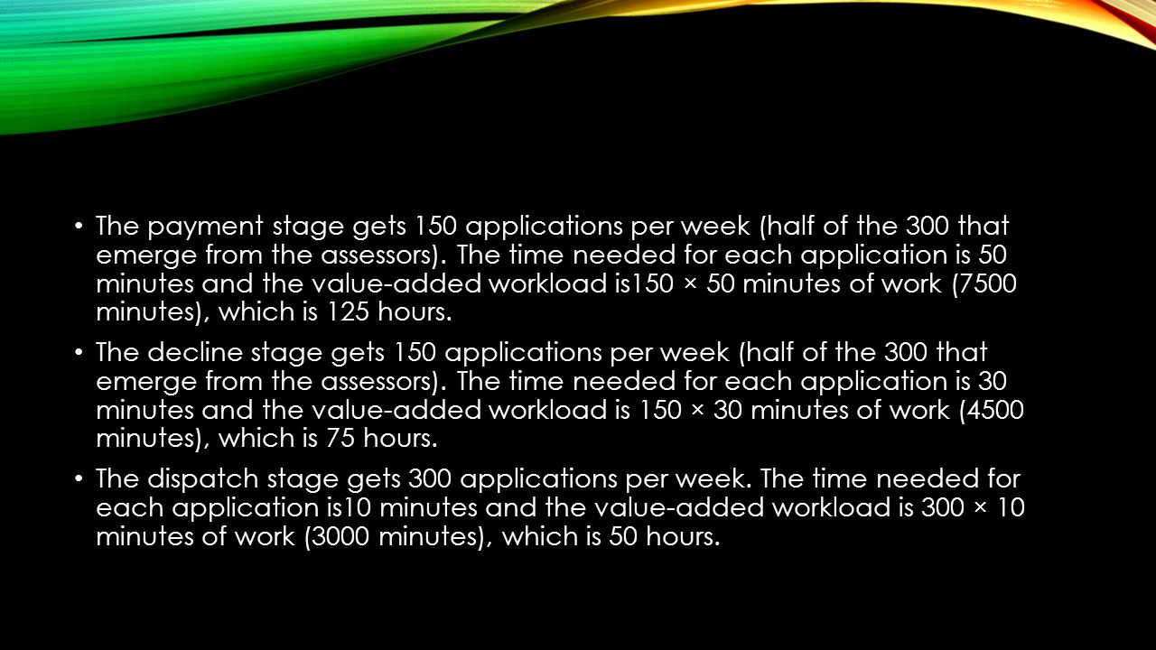 The payment stage gets 150 applications per week (half of the 300 that emerge from the assessors). The time needed for each application is 50 minutes and the value-added workload is150 × 50 minutes of work (7500 minutes), which is 125 hours.