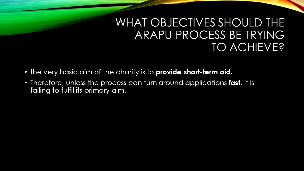 what objectives should the ARAPU process be trying to achieve