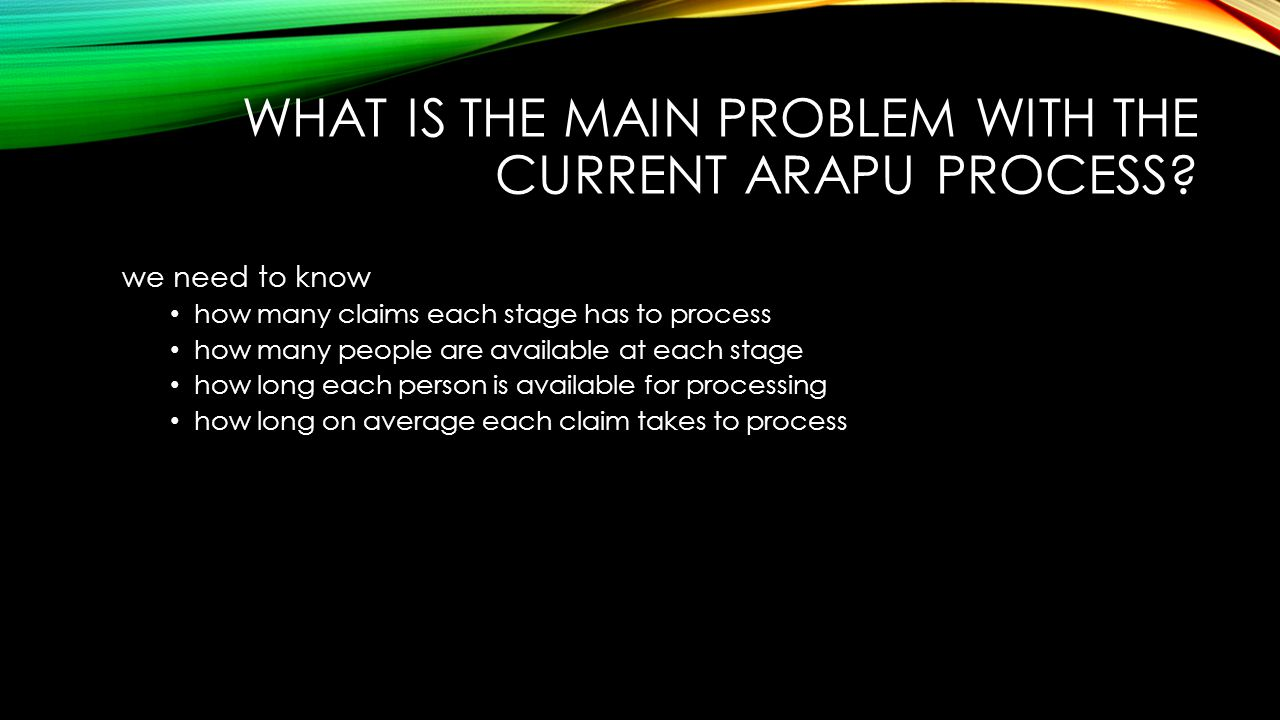 what is the main problem with the current ARAPU process